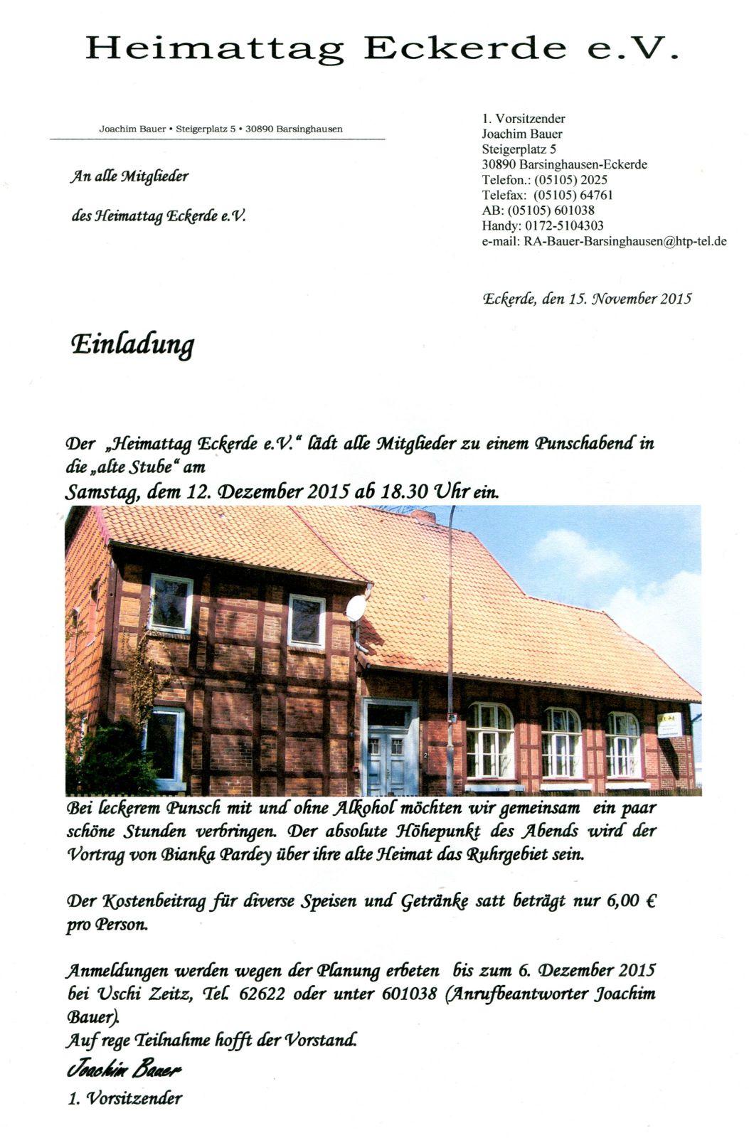 Einladung Punschabend 2015