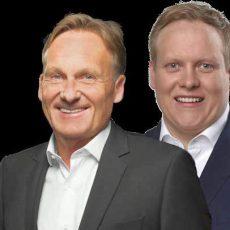 CDU-Europawahlkandidat Tilman Kuban plaudert mit Hans-Joachim Watzke von Borussia Dortmund über Sport und Politik