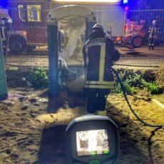 Dixi-Klo brennt in der Erfurter Straße